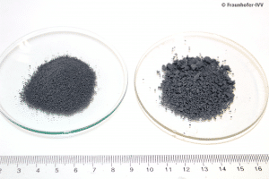 Two petri dishes. One with more coarse powder of recycled PVC fine recycled PVC powder, the other with